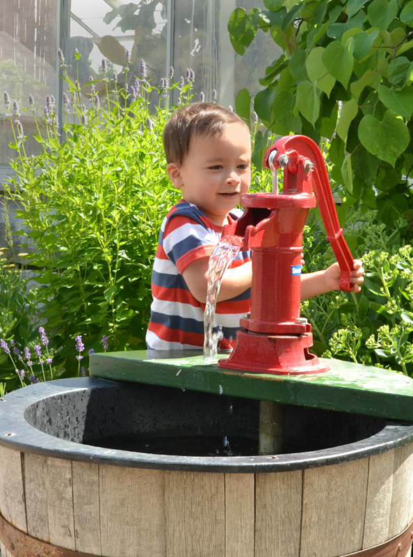 water pump in outdoor Children's Garden at Botanical Gardens in Buffalo NY