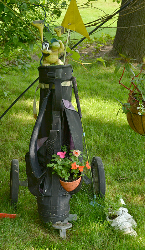 Not only does this golf bag hold a plant, but notice that the white shoes at the right are also planted up! Photo by Connie Oswald Stofko
