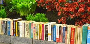 garden retaining wall made of books in Hamburg NY