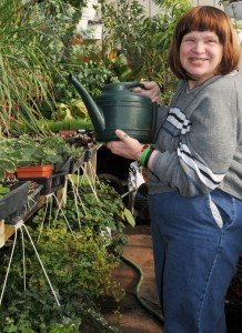 annie watering from Opportunities Unlimited in Niagara County