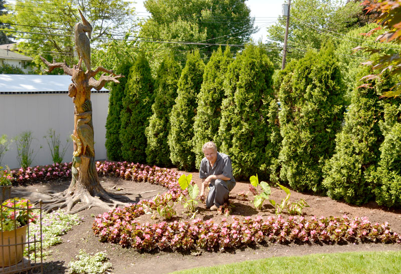 Jerry Powarski in his garden in West Seneca
