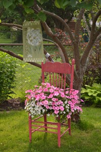 chair with pink annuals as garden art in Lockport NY
