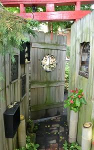 door to tea garden in Lancaster NY