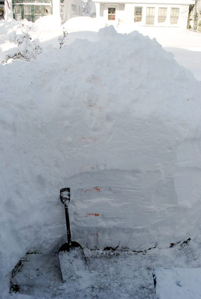 shovel shows height of snow