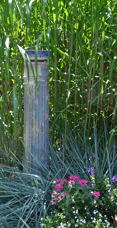 column and tall grass on Garden Walk Buffalo