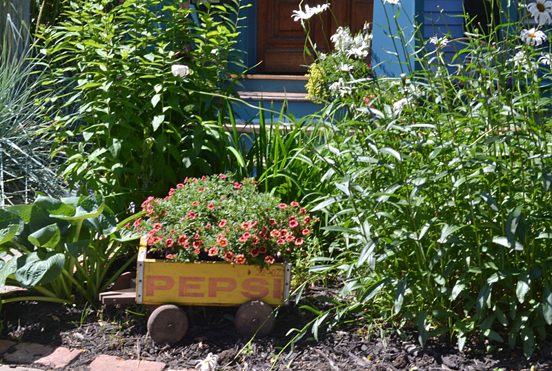 container garden in Pepsi wagon in Buffalo
