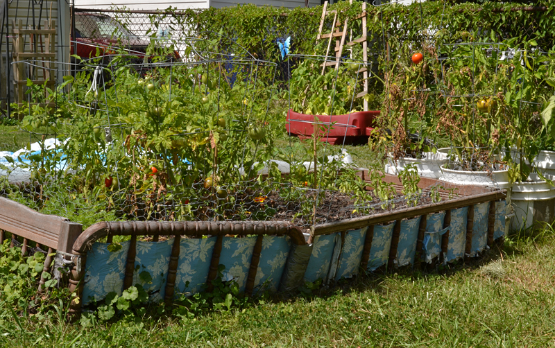 raised bed made with old crib