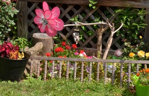 crib railing as fence in gardn