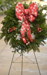 wreath on stand at Goodman's in Niagara Falls