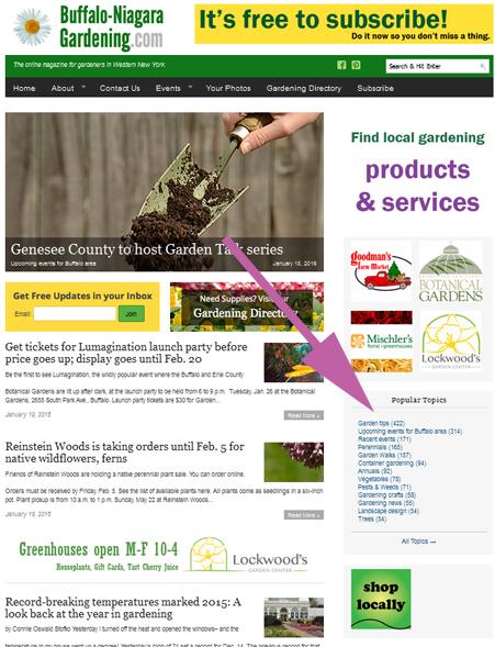 screenshot of gardening topics