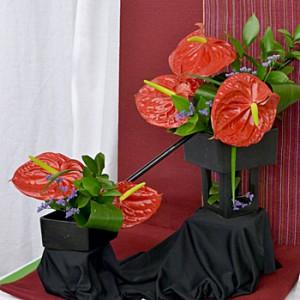 flower arrangement evoking Clifford Big Red Dog