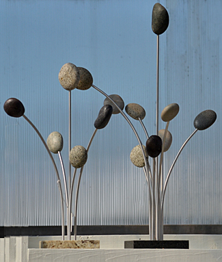 garden decoration made of sea stones