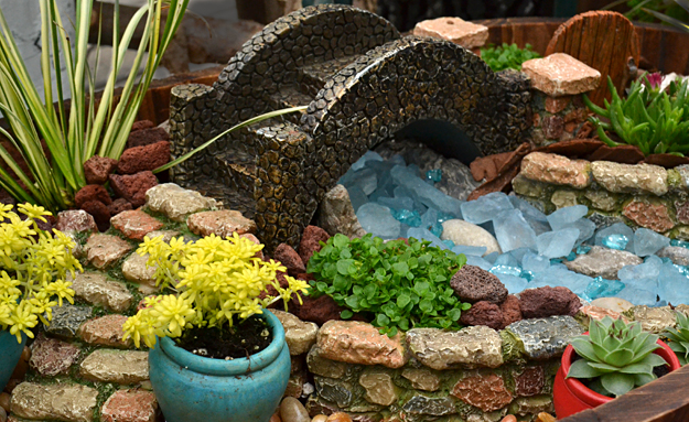 fairy garden with stone accessories