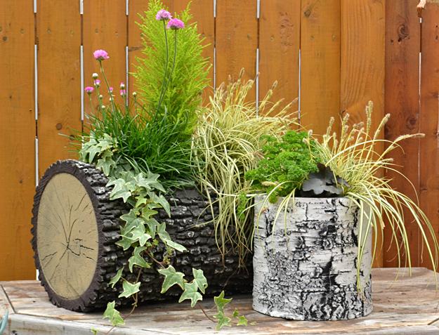 log planters at Mischler's in Williamsville