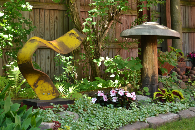 sculpture by Robert Then in his garden
