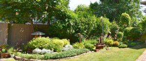 panorama of garden on Parkside Garden Walk in Buffalo