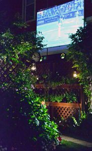 entrance to backyard with projected image