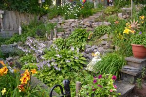 terraces for gardens on steep hill in South Buffalo