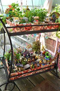 fairy gardens on tea cart in Buffalo