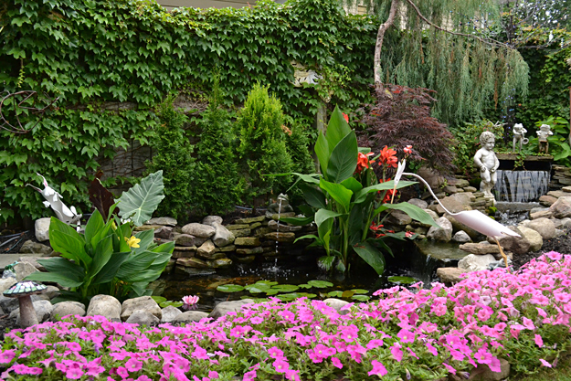gardens around water feature in West Seneca NY