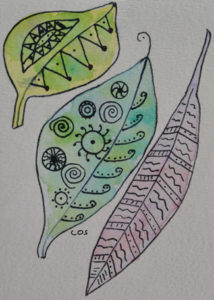 leaf watercolor with Zentangle