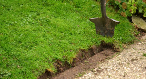 use shovel to cut grass away from patio