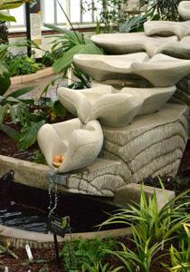 flowform water feature at Buffalo Botanical Gardens