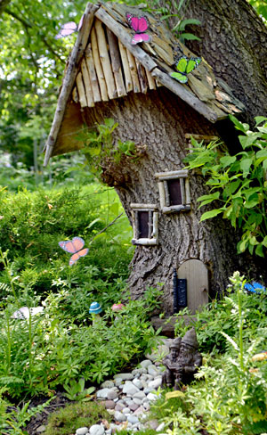 gnome house made from tree stump