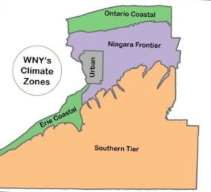 map of climate zones in Western New York