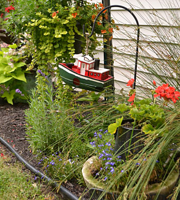 tugboat decoration in Hamburg Garden