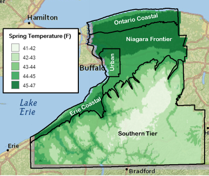 map of average spring temperatures in climate zones in WNY