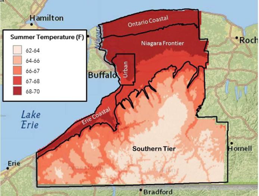 map of average summer temperatures in climate zones in WNY