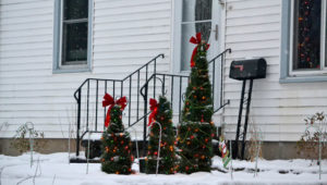 tomato cages turned into Christmas trees