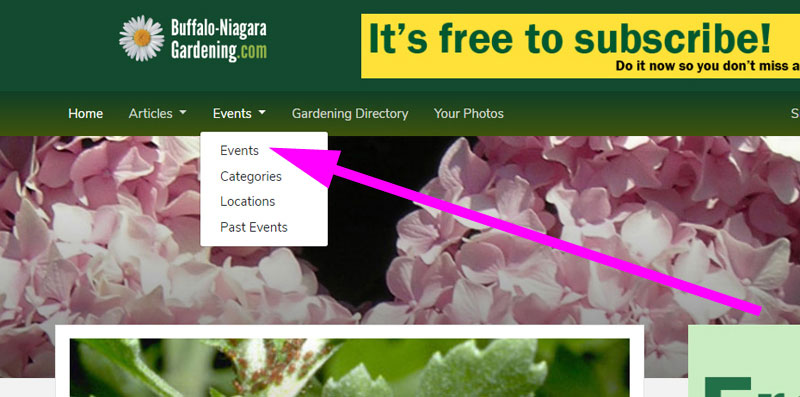 how to find gardening events in WNY