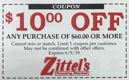 coupon from Zittel's