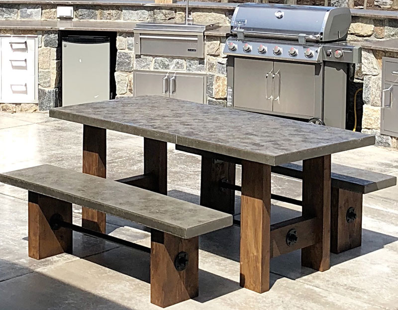outdoor table and bench with concrete tops