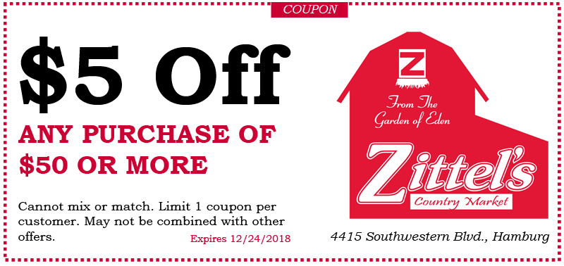 coupon for Zittel's in Hamburg NY