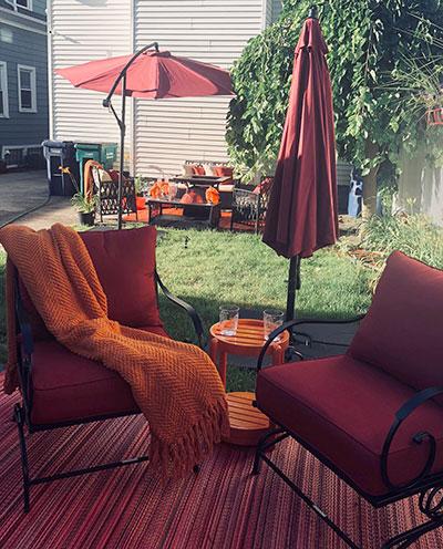 seating area in garden on Arden Avenue, Buffalo