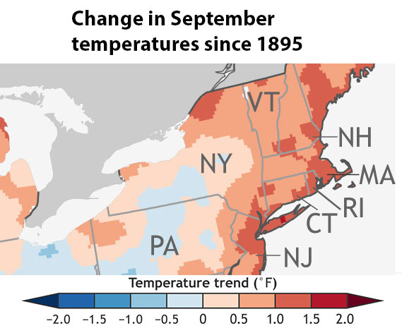 changing average September temperatures