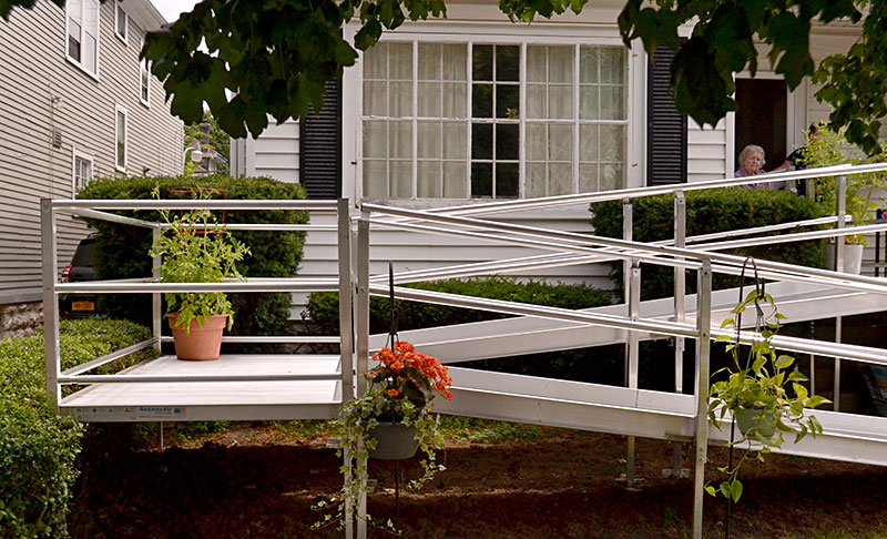 container gardening on wheelchair ramp