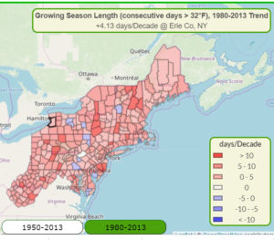map of counties showing change in number of growing days