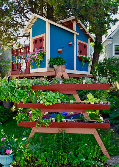 treehouse with planter boxes in Buffalo