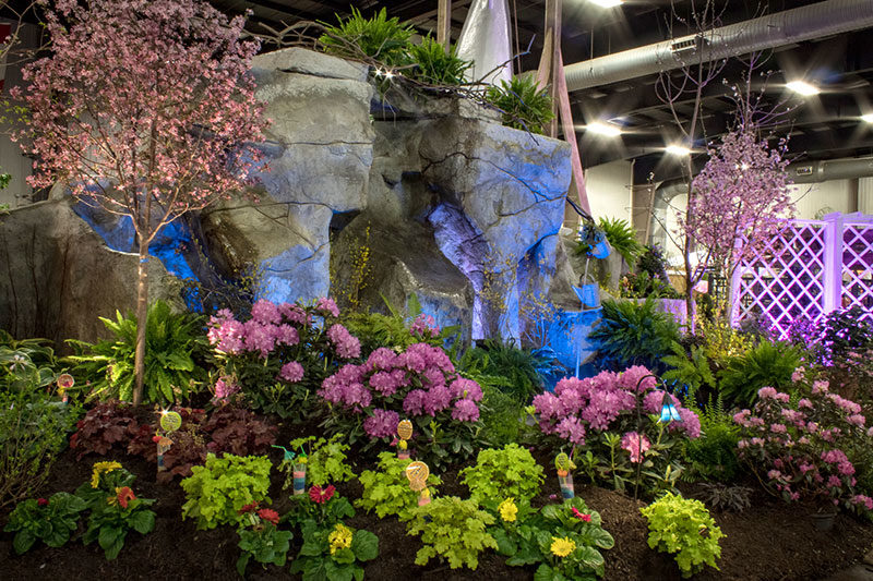huge water feature by Chevalier and Luminated Landscapes at Plantasia 2019