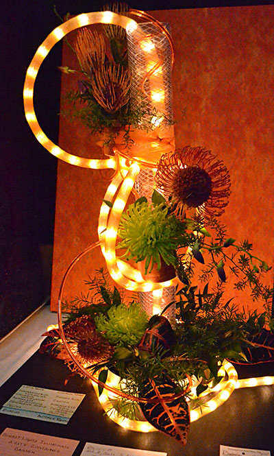 lighted flower design in Plantasia flower show 2018