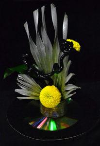 flower arrangement incorporating DVD at Plantasia 2018