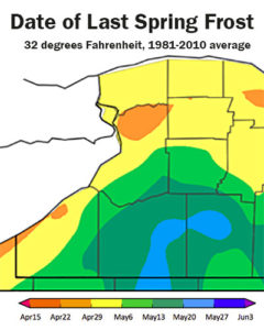 map of last frost dates in Western New York