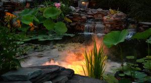 waterfall and pond at night on Ken-Ton garden walk