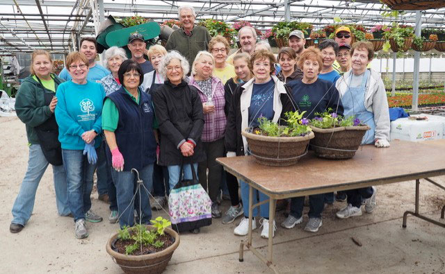 Orchard Park Garden club planting baskets