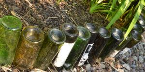 wine bottles form garden border