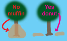 volcano mulch illustration muffin and donut